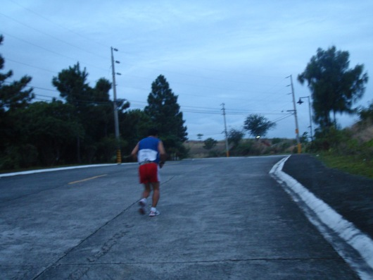 First stage of our run, an uphill towards residential villages
