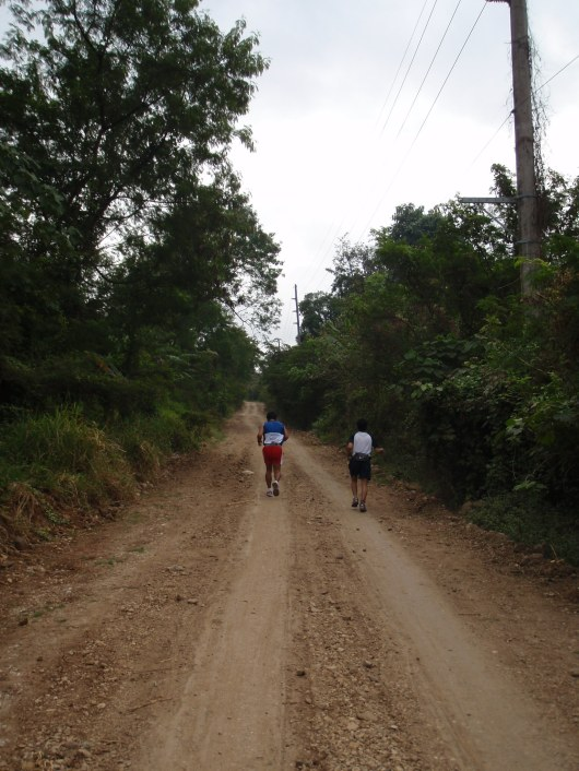 After 2 hours of running inside those trails, we finally found our way out. And what do we find back? More dirt roads!