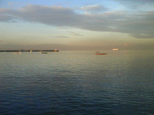 Dragon boats wading thru the horizon