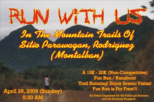Trail Run Will Be On Sunday, April 26, 2009