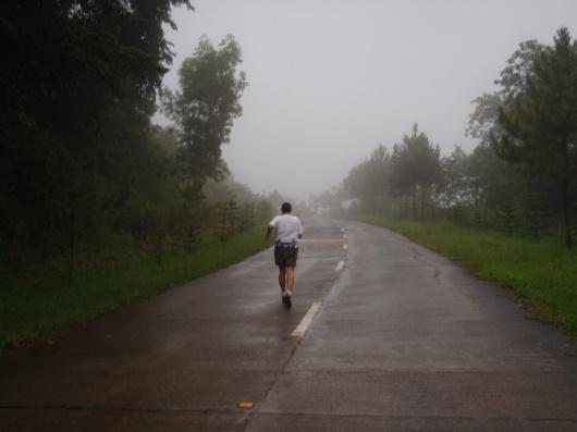 June, on the foggy street ahead