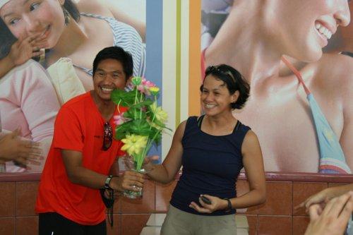Jinoe with birthday girl, Carmen