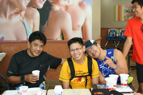 Inside McDo with Mar, Doc and Jinoe (standing)