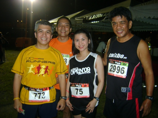 With classmates at the Runnex running clinic, Armie, Pio and Ebong