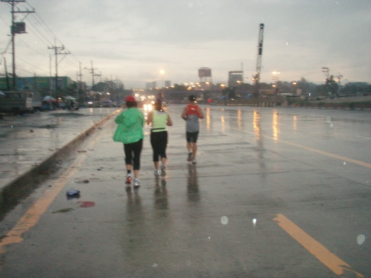 Past Tandang Sora Street and above the flyover construction