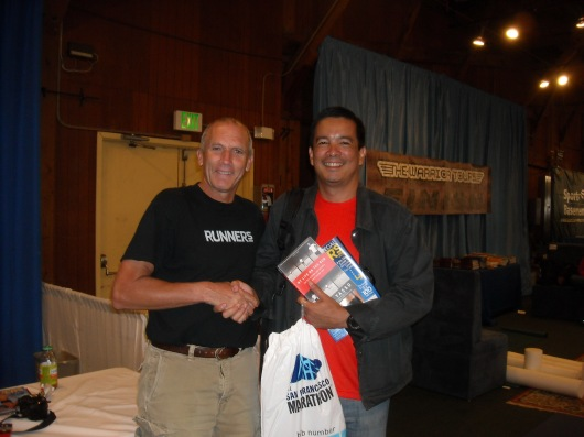 Dave De Leon (r) with Bart Yasso, Runners World Magazine Chief Running Officer and inventor of the Yasso 800s at the SF International Marathon Exposition last July 2009